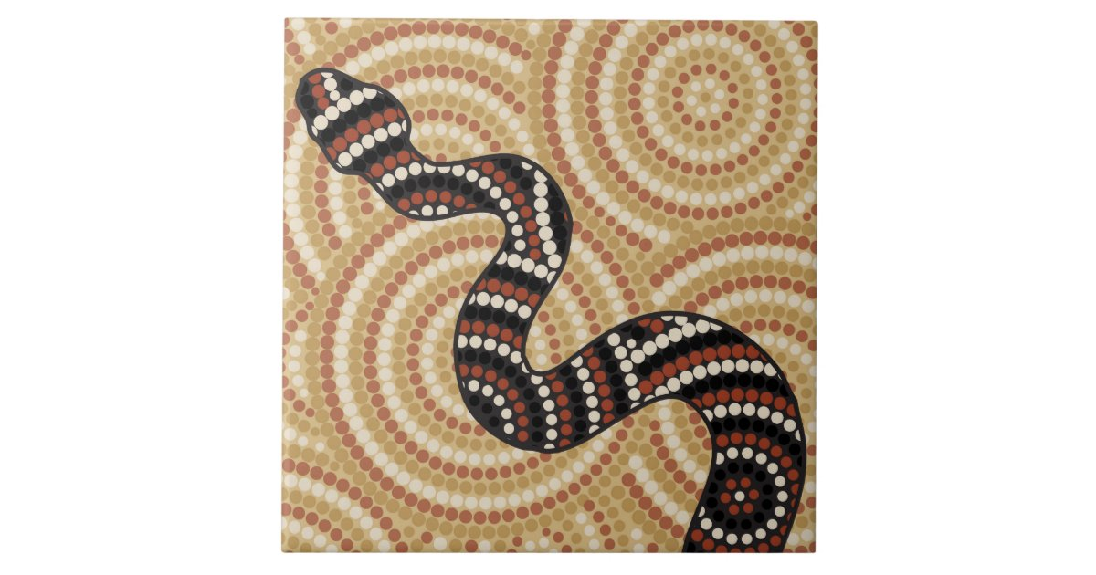 Aboriginal Snake Dot Painting Ceramic Tile Zazzle Com Au