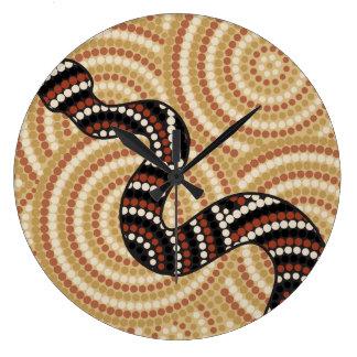 Aboriginal snake dot painting wall clocks