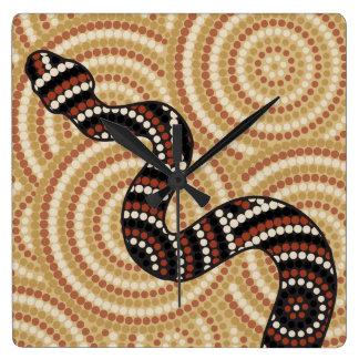 Aboriginal snake dot painting wallclocks