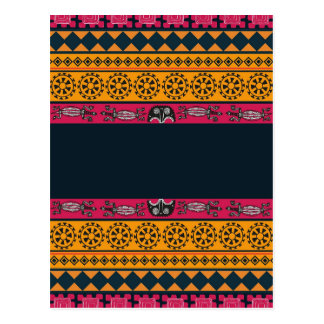 Aboriginal Tribal Pink and Orange Art Postcard