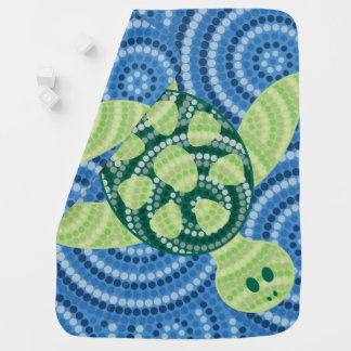 Aboriginal turtle dot painting buggy blankets