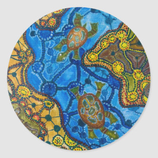 Aboriginal Turtles Painting Classic Round Sticker