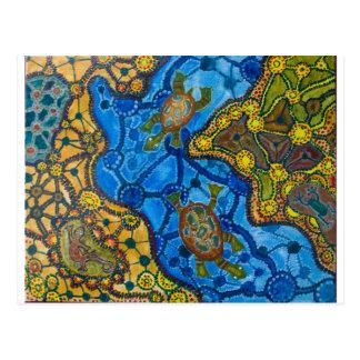 Aboriginal Turtles Painting Postcard
