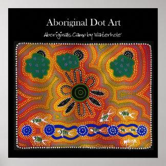 Aboriginals Camp by Waterhole Poster