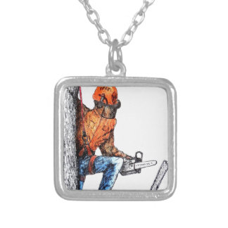 Aborist Tree surgeon Birthday present gift. Silver Plated Necklace