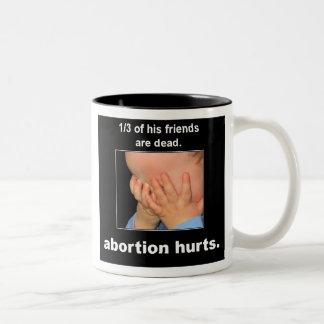 abortion hurts Two-Tone coffee mug