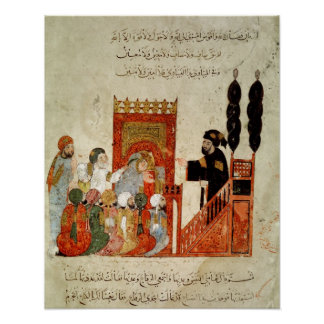 Abou Zayd preaching in the Mosque Poster