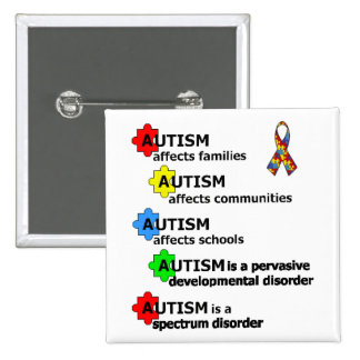 ABOUT AUTISM 15 CM SQUARE BADGE