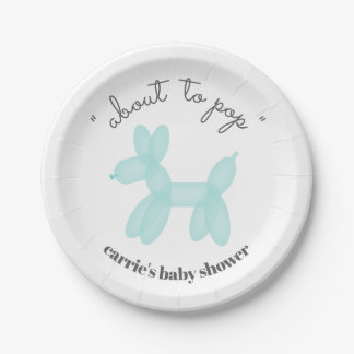 About To Pop Balloon Animal Blue Baby Shower Paper Plate