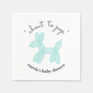 About To Pop Blue Balloon Animal Baby Shower Disposable Napkins