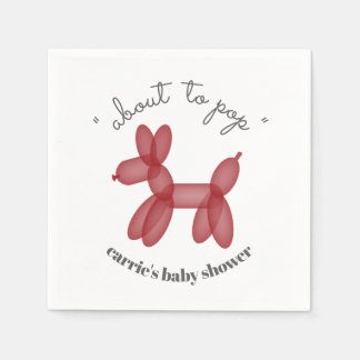 About To Pop Red Balloon Animal Baby Shower Paper Serviettes