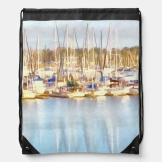Above and below drawstring bag