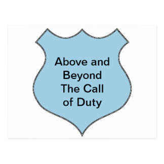 Above and Beyond the Call of Duty Badge Postcard