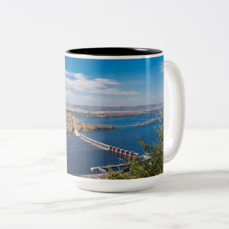 Above Mississippi River and Dam at Alma Two-Tone Coffee Mug