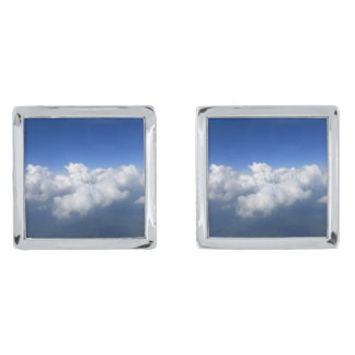 above the clouds 03 silver finish cufflinks