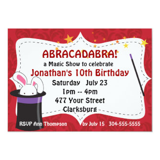 Abracadabra Magic Show 13 Cm X 18 Cm Invitation Card