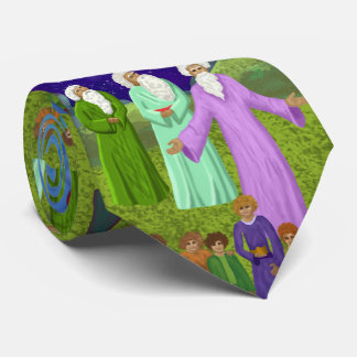 Abraham Isaac and Jacob Bible Story Collage Tie