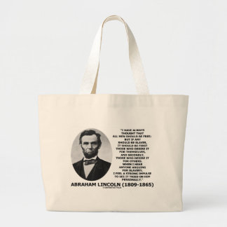 Abraham Lincoln All Men Should Be Free Slavery Canvas Bag