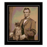 """Abraham Lincoln and his cat """"Dixie"""" Poster"""