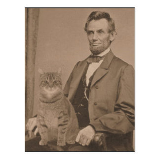 "Abraham Lincoln and his cat ""Gloria"" Postcard"