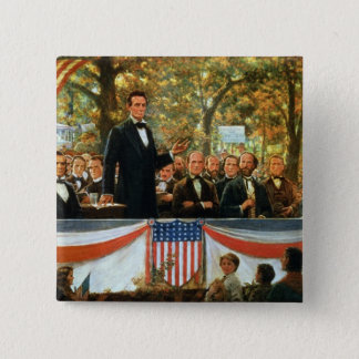 Abraham Lincoln and Stephen A. Douglas 15 Cm Square Badge