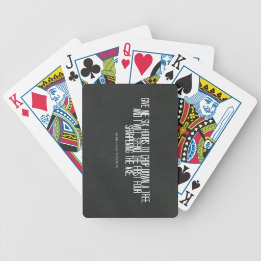"""Abraham Lincoln """"chop down a tree"""" quote Card Deck"""