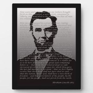 Abraham Lincoln  & Gettysburg Address Plaque