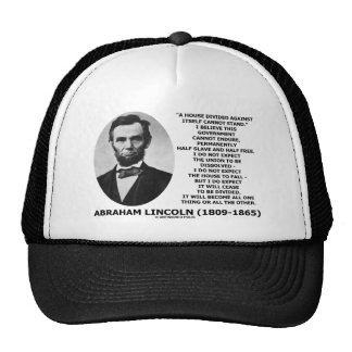 Abraham Lincoln House Divided Cannot Stand Quote Mesh Hat