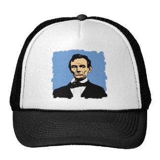 Abraham Lincoln Illustration on Blue Mesh Hats