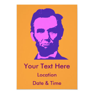 "Abraham Lincoln in Pink & Purple 5"" X 7"" Invitation Card"