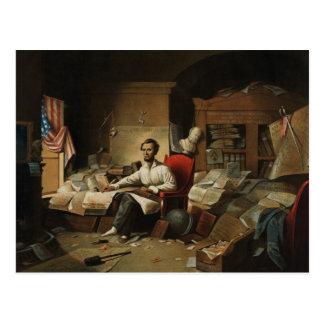 Abraham Lincoln in socks and slipper Postcard