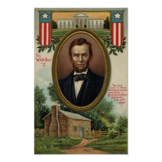 Abraham Lincoln & Log Cabin in Kentucky Poster