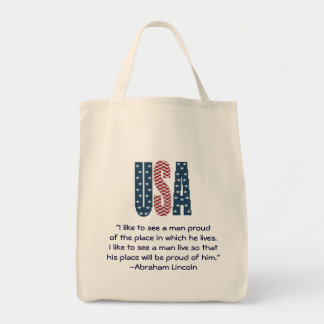Abraham Lincoln National Pride Quote Grocery Tote Bag