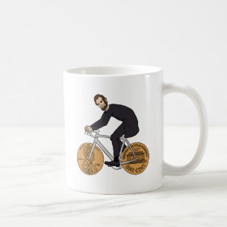 Abraham Lincoln On A Bike With Penny Wheels Bottle Coffee Mug