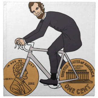 Abraham Lincoln On A Bike With Penny Wheels Bottle Napkin