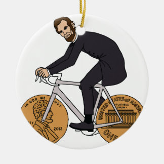 Abraham Lincoln On A Bike With Penny Wheels Bottle Round Ceramic Decoration