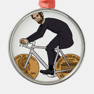 Abraham Lincoln On A Bike With Penny Wheels Bottle Silver-Colored Round Decoration