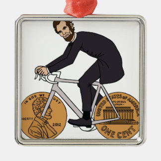 Abraham Lincoln On A Bike With Penny Wheels Bottle Silver-Colored Square Decoration