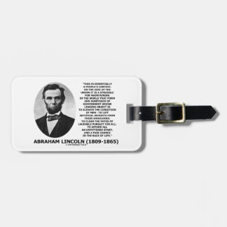 Abraham Lincoln People's Contest Union Race Life Bag Tag