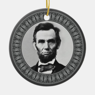 Abraham Lincoln Portrait and Quote - Double-sided Round Ceramic Decoration
