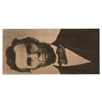 Abraham Lincoln Portrait Wood USB 3.0 Flash Drive