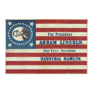 Abraham Lincoln Presidency Campaign Banner Flag Canvas Prints