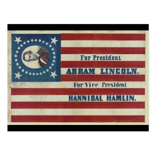 Abraham Lincoln Presidency Campaign Banner Flag Postcard