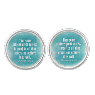 Abraham Lincoln Quote on Success - Watercolor Cuff Links