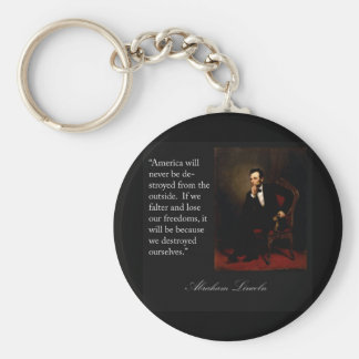 Abraham Lincoln Quote & Portrait Basic Round Button Key Ring