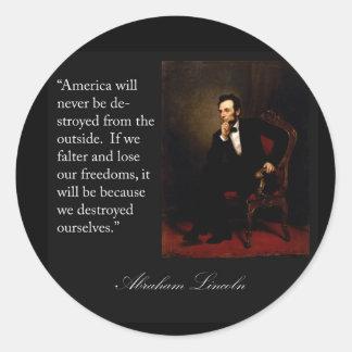 Abraham Lincoln Quote Portrait Round Sticker