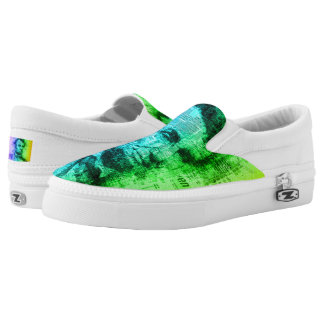Abraham Lincoln Rainbow Colors Typography Portrait Slip-On Shoes