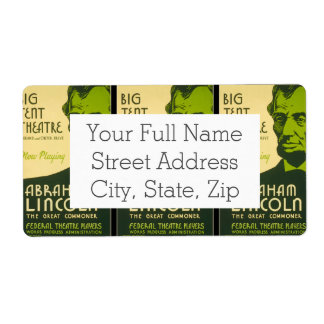 Abraham Lincoln The Great Commoner Shipping Label