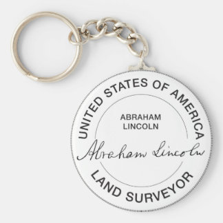 Abraham Lincoln US Land Surveyor Seal Basic Round Button Key Ring