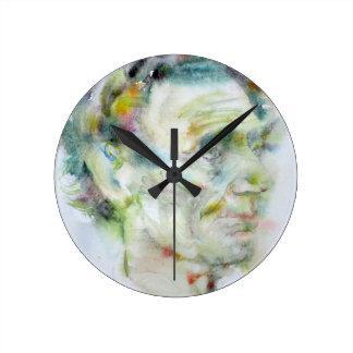 ABRAHAM LINCOLN - watercolor portrait Round Clock